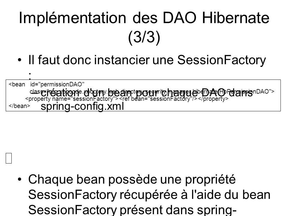 Implémentation des DAO Hibernate (3/3) Il faut donc instancier une SessionFactory : –création d'un bean pour chaque DAO dans spring-config.xml Chaque