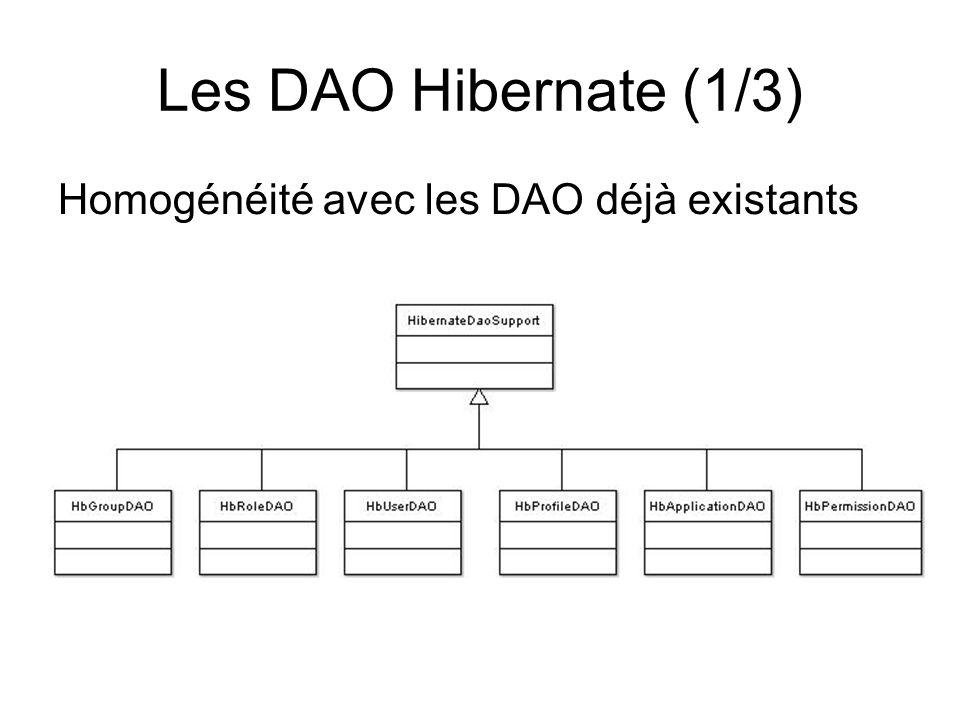 Les DAO Hibernate (1/3) Homogénéité avec les DAO déjà existants
