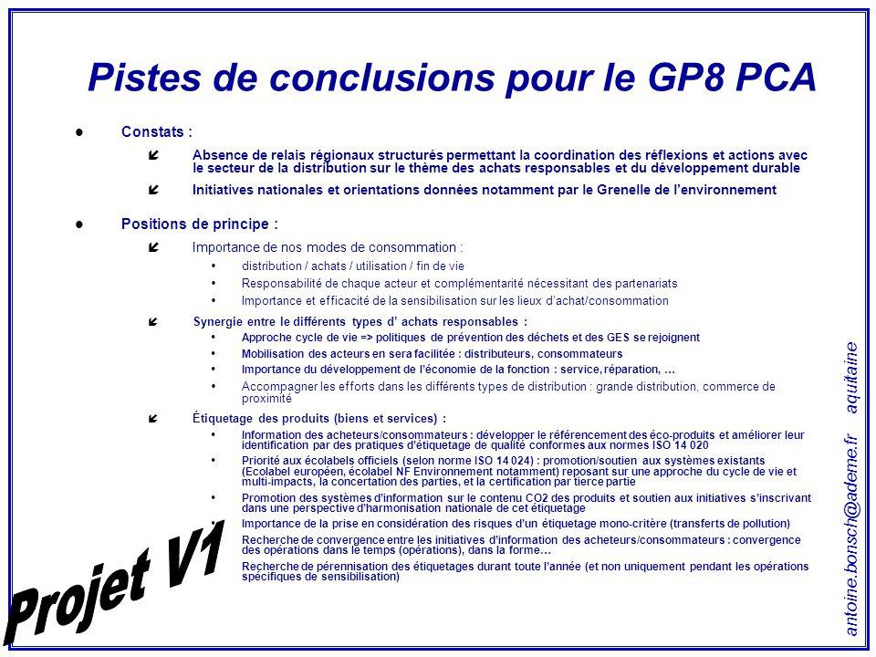 antoine.bonsch@ademe.fr aquitaine Pistes de conclusions pour le GP8 PCA Constats : íAbsence de relais régionaux structurés permettant la coordination
