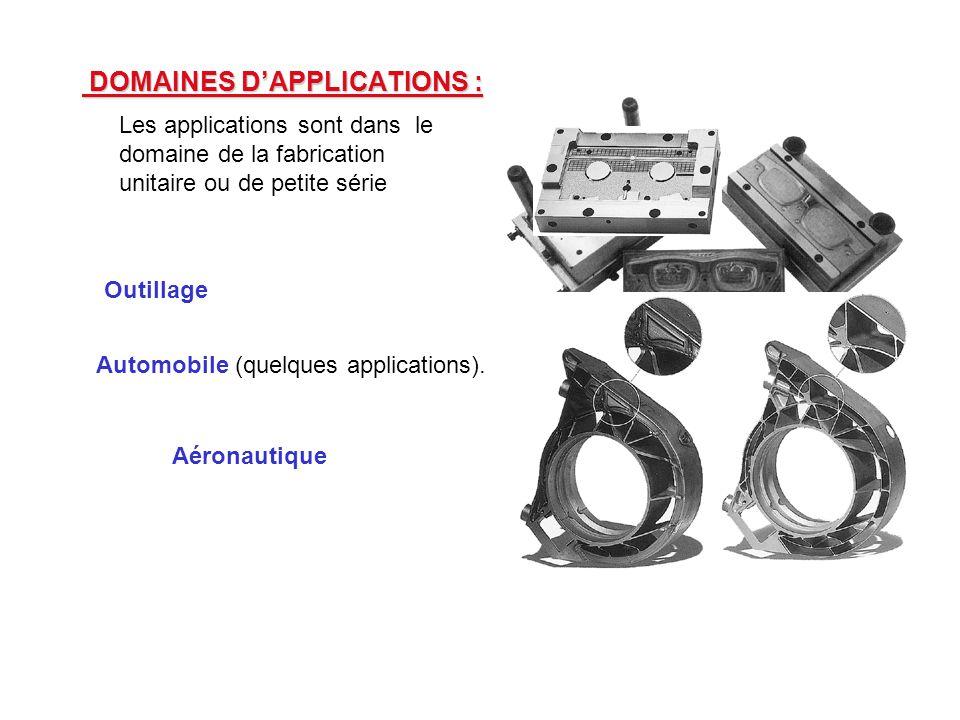DOMAINES D'APPLICATIONS : DOMAINES D'APPLICATIONS : Les applications sont dans le domaine de la fabrication unitaire ou de petite série Outillage Automobile (quelques applications).