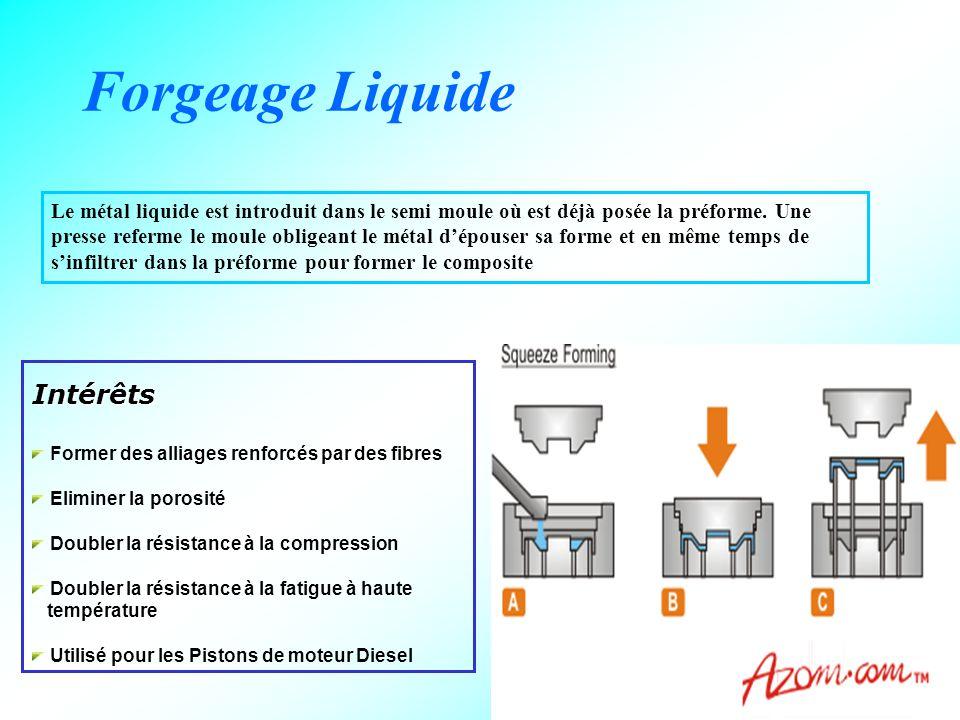 21 Forgeage Liquide Le métal liquide est introduit dans le semi moule où est déjà posée la préforme. Une presse referme le moule obligeant le métal d'
