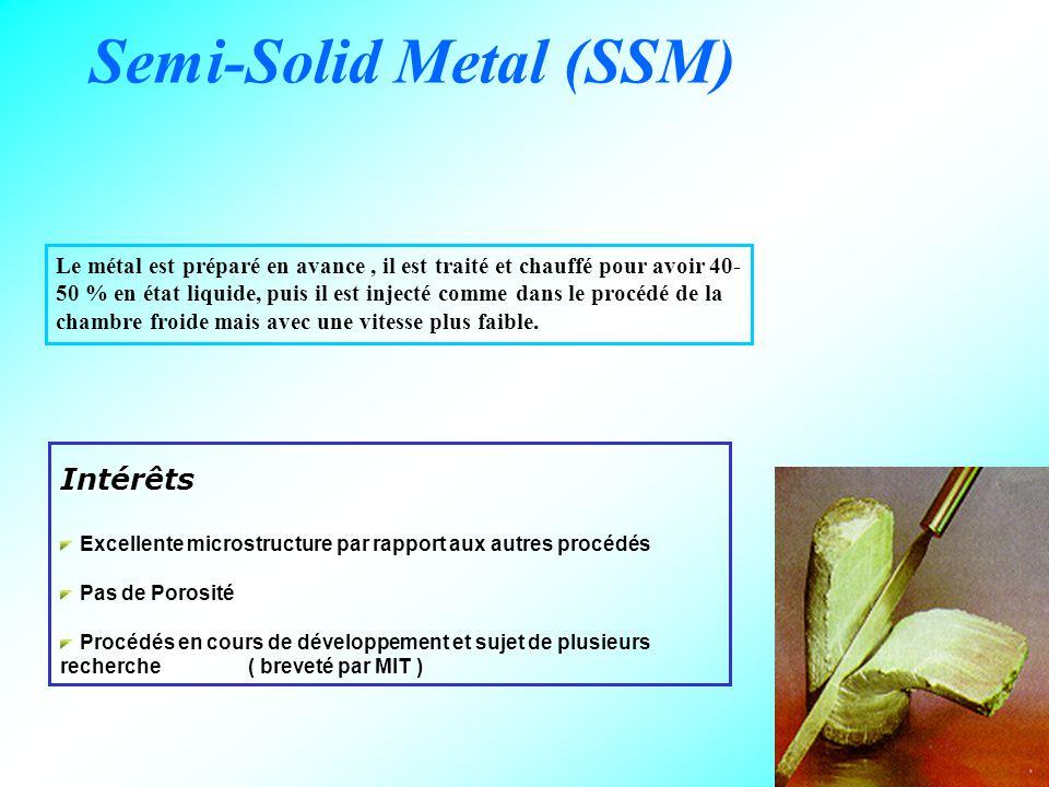 22 Semi-Solid Metal (SSM) Le métal est préparé en avance, il est traité et chauffé pour avoir 40- 50 % en état liquide, puis il est injecté comme dans le procédé de la chambre froide mais avec une vitesse plus faible.