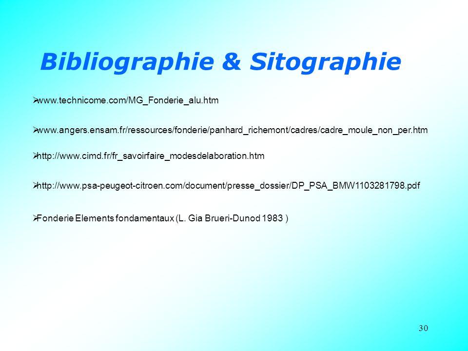 30 Bibliographie & Sitographie  www.technicome.com/MG_Fonderie_alu.htm  www.angers.ensam.fr/ressources/fonderie/panhard_richemont/cadres/cadre_moule