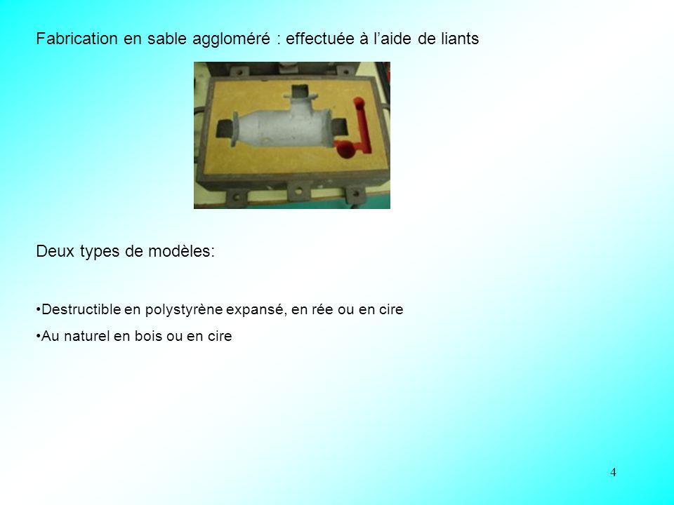 4 Fabrication en sable aggloméré : effectuée à l'aide de liants Deux types de modèles: Destructible en polystyrène expansé, en rée ou en cire Au natur