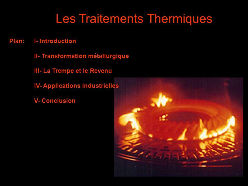 1 Les Traitements Thermiques Plan:I- Introduction II- Transformation métallurgique III- La Trempe et le Revenu IV- Applications Industrielles V- Concl
