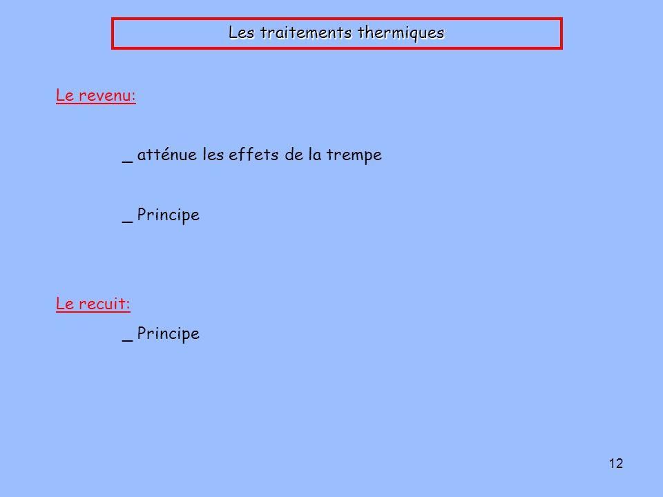 12 Les traitements thermiques Le revenu: _ atténue les effets de la trempe _ Principe Le recuit: _ Principe