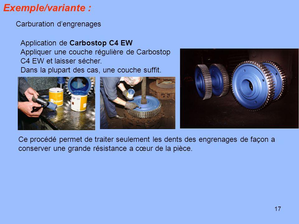 17 Exemple/variante : Carburation d'engrenages Application de Carbostop C4 EW Appliquer une couche régulière de Carbostop C4 EW et laisser sécher. Dan