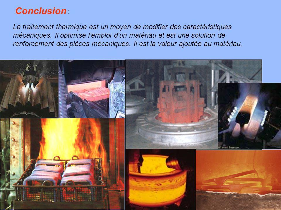18 Le traitement thermique est un moyen de modifier des caractéristiques mécaniques. Il optimise l'emploi d'un matériau et est une solution de renforc