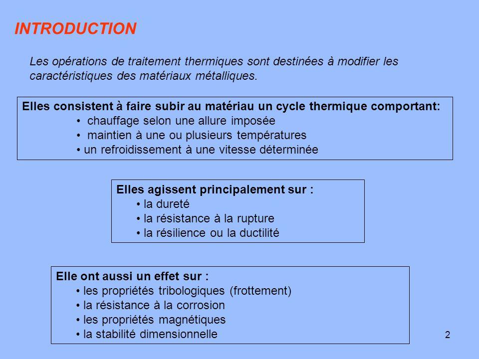 3 Ils se classent également selon qu'ils ont : Traitement dans la masse: modifier en profondeur les propriétés du matériau dans toute la section ou toute la masse du produit traité.