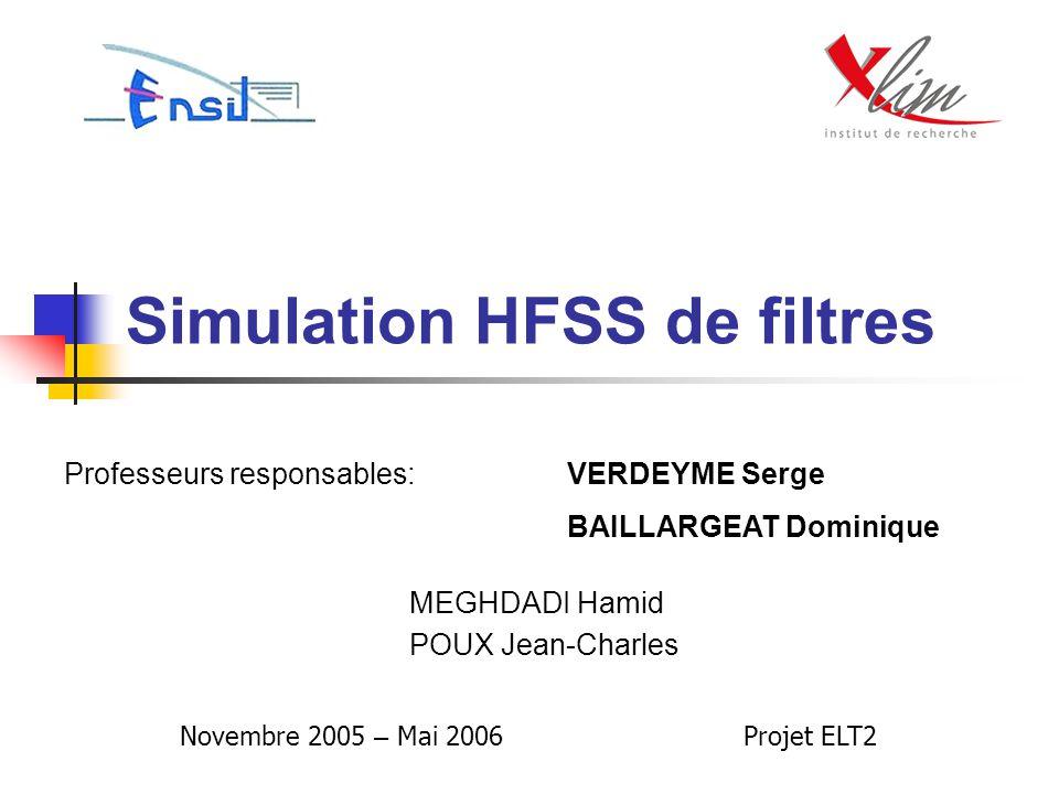 Simulation HFSS de filtres MEGHDADI Hamid POUX Jean-Charles Professeurs responsables:VERDEYME Serge BAILLARGEAT Dominique Novembre 2005 – Mai 2006 Pro