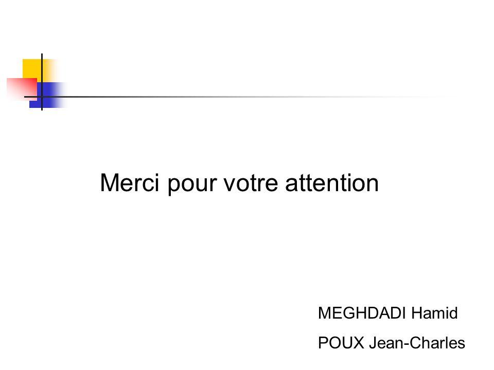 Merci pour votre attention MEGHDADI Hamid POUX Jean-Charles