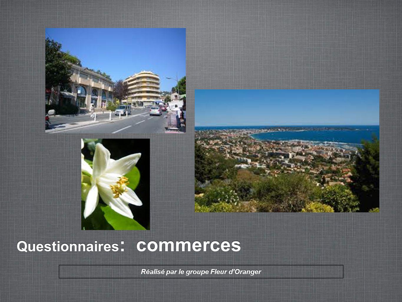 Questionnaires : commerces Réalisé par le groupe Fleur d'Oranger