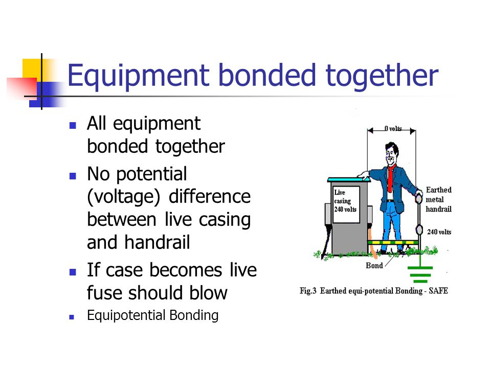 Equipment bonded together All equipment bonded together No potential (voltage) difference between live casing and handrail If case becomes live fuse s