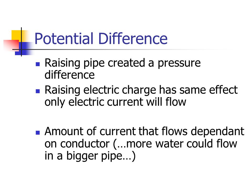 Potential Difference Summary Difference of charge between two objects Causes a current to flow (water analogy) Measured in Volts Symbol 'V' i.e.