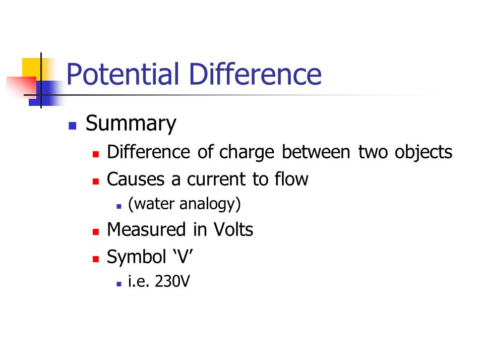 Potential Difference Summary Difference of charge between two objects Causes a current to flow (water analogy) Measured in Volts Symbol 'V' i.e. 230V