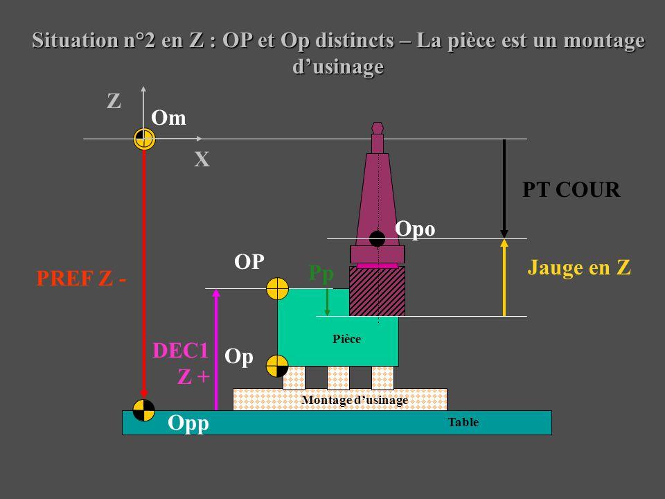 Situation n°2 en Z : OP et Op distincts – La pièce est un montage d'usinage Pièce Montage d'usinage Table Om Opp OP Op PREF Z - Jauge en Z DEC1 Z + X