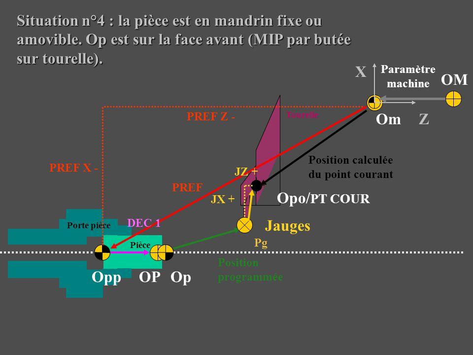 Situation n°4 : la pièce est en mandrin fixe ou amovible. Op est sur la face avant (MIP par butée sur tourelle). Jauges Pg Porte pièce Tourelle Opo/ P