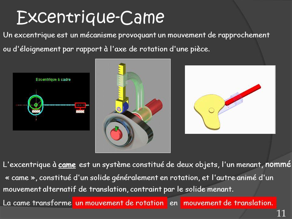Excentrique-Came mouvement alternatif de translation, contraint par le solide menant. L'excentrique à came est un système constitué de deux objets, l'