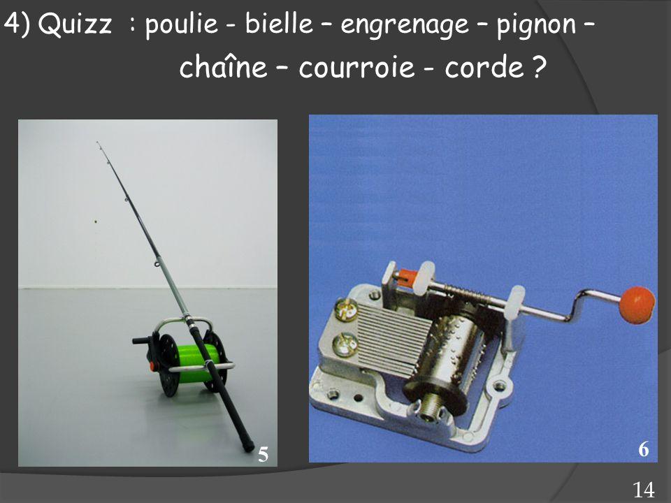 5 6 14 4) Quizz : poulie - bielle – engrenage – pignon – chaîne – courroie - corde ?