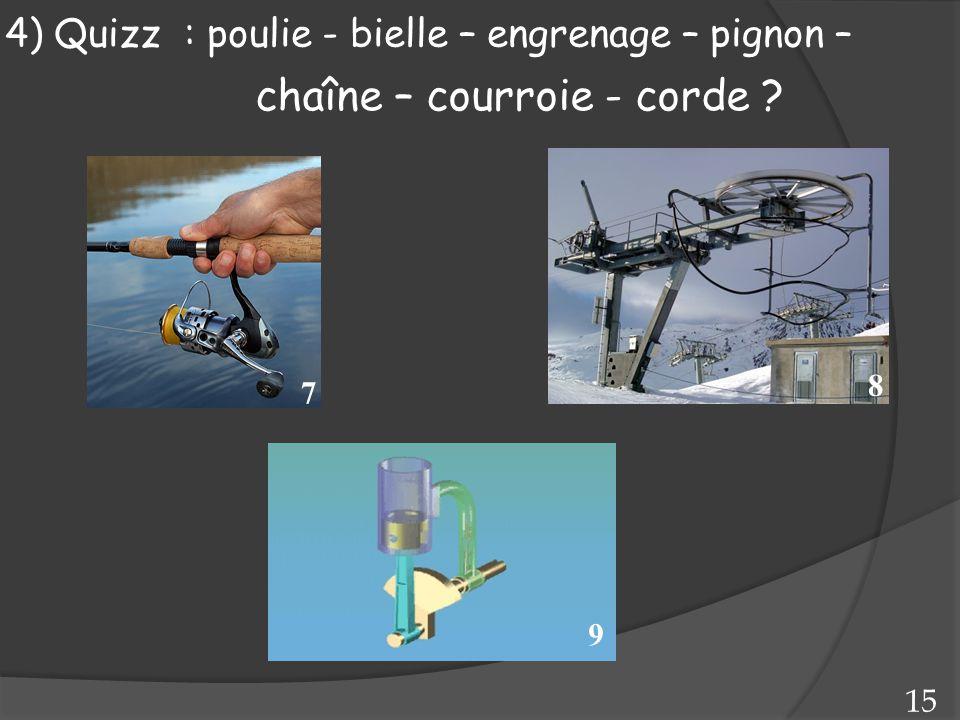 7 8 9 15 4) Quizz : poulie - bielle – engrenage – pignon – chaîne – courroie - corde ?
