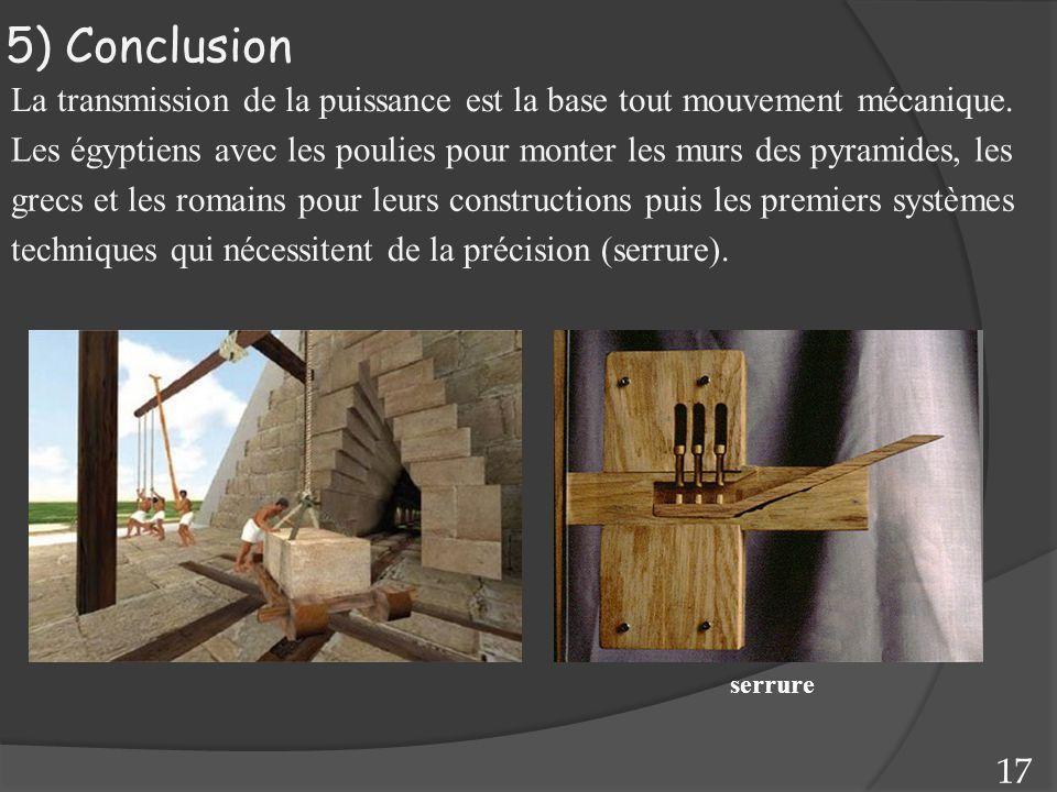 5) Conclusion La transmission de la puissance est la base tout mouvement mécanique. Les égyptiens avec les poulies pour monter les murs des pyramides,