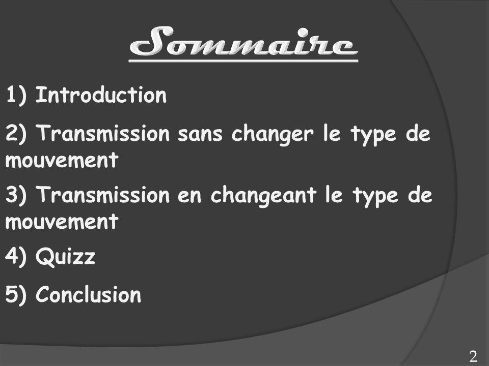 2 2) Transmission sans changer le type de mouvement 3) Transmission en changeant le type de mouvement 4) Quizz 5) Conclusion 1) Introduction
