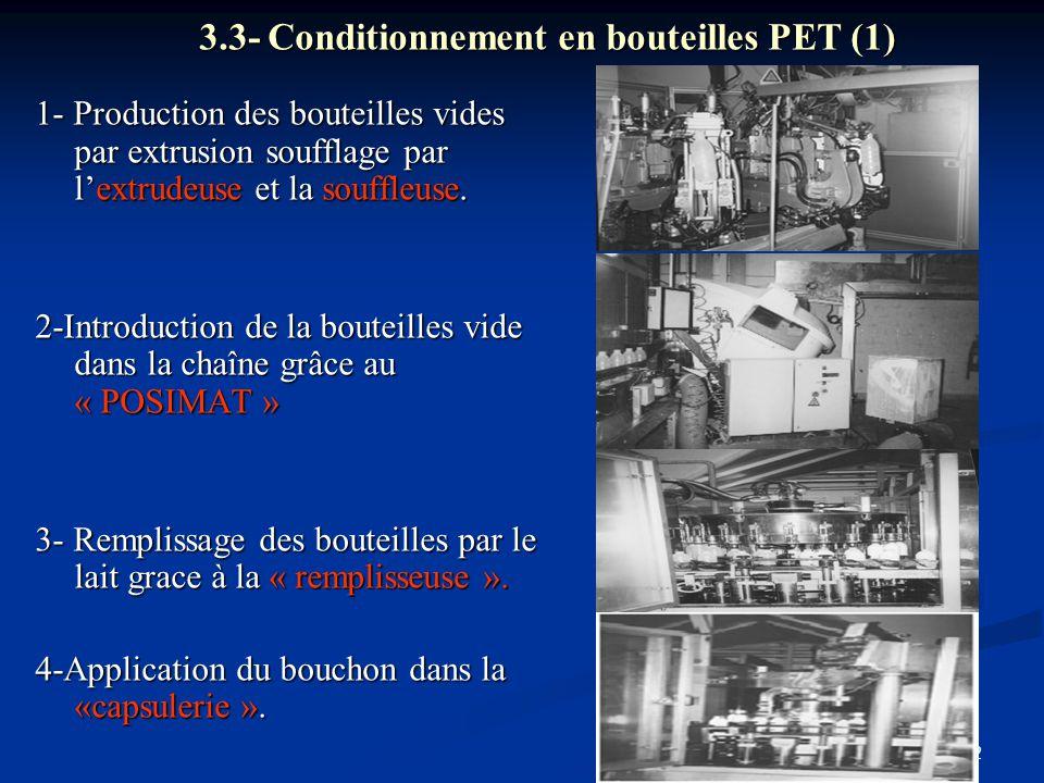 12 3.3- Conditionnement en bouteilles PET (1) 1- Production des bouteilles vides par extrusion soufflage par l'extrudeuse et la souffleuse. 2-Introduc