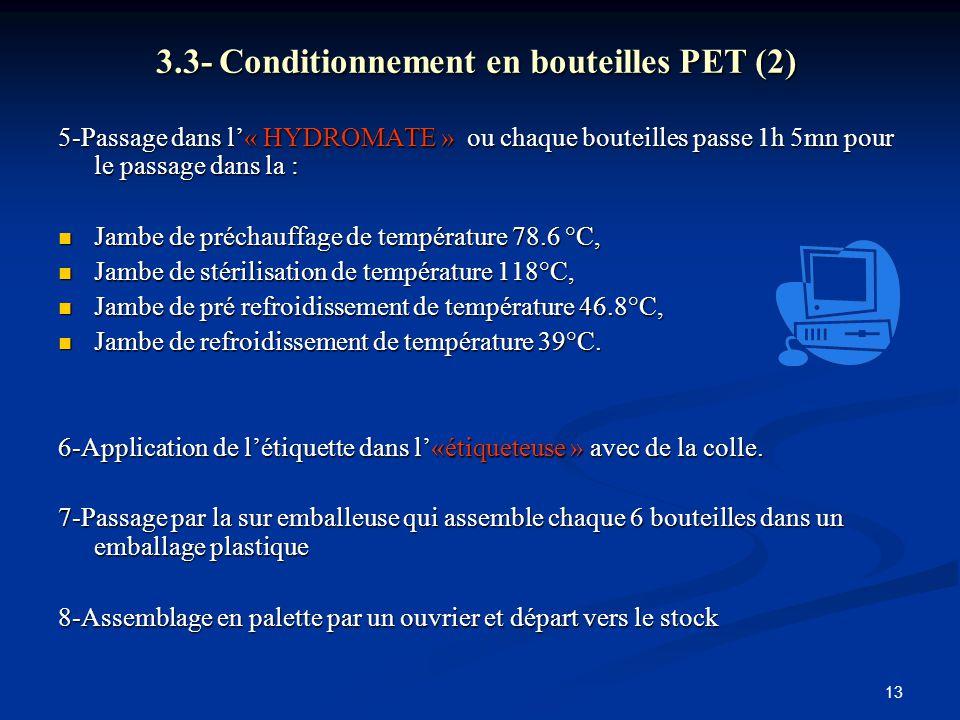 13 3.3- Conditionnement en bouteilles PET (2) 5-Passage dans l'« HYDROMATE » ou chaque bouteilles passe 1h 5mn pour le passage dans la : Jambe de préc