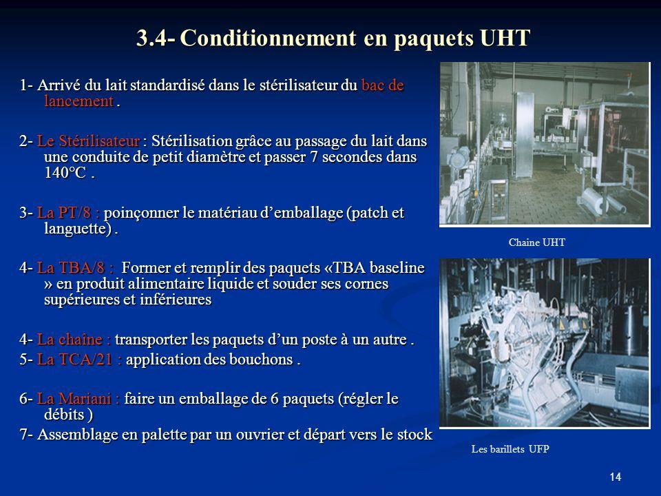 14 3.4- Conditionnement en paquets UHT 1- Arrivé du lait standardisé dans le stérilisateur du bac de lancement. 2- Le Stérilisateur : Stérilisation gr