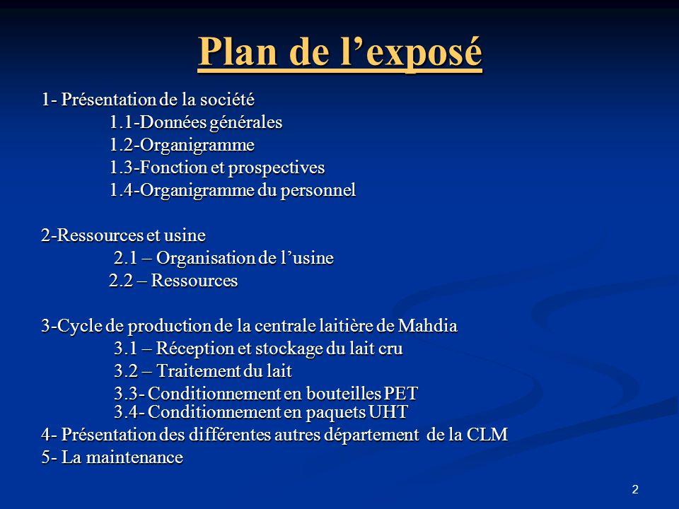 2 Plan de l'exposé 1- Présentation de la société 1.1-Données générales 1.2-Organigramme 1.3-Fonction et prospectives 1.4-Organigramme du personnel 2-R