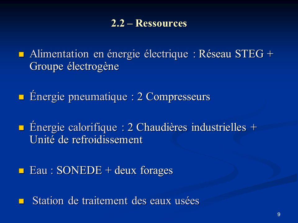 9 2.2 – Ressources Alimentation en énergie électrique : Réseau STEG + Groupe électrogène Alimentation en énergie électrique : Réseau STEG + Groupe éle
