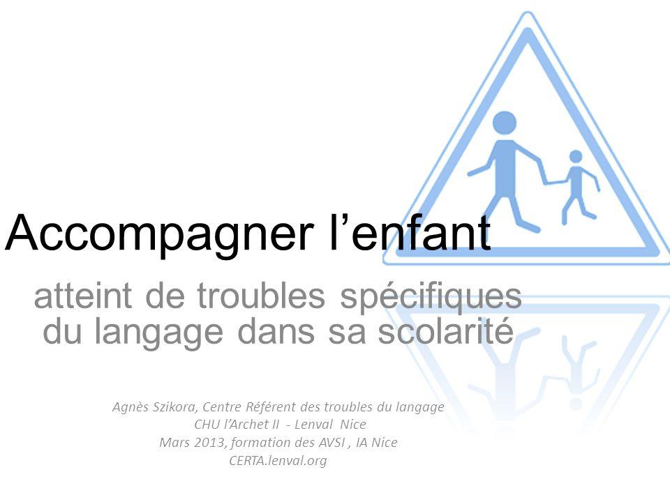 Accompagner l'enfant atteint de troubles spécifiques du langage dans sa scolarité Agnès Szikora, Centre Référent des troubles du langage CHU l'Archet