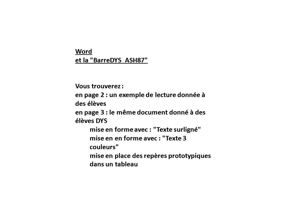 Word et la