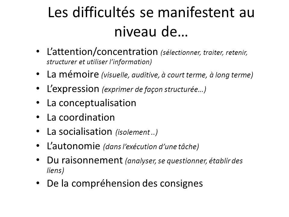 Les difficultés se manifestent au niveau de… L'attention/concentration (sélectionner, traiter, retenir, structurer et utiliser l'information) La mémoi