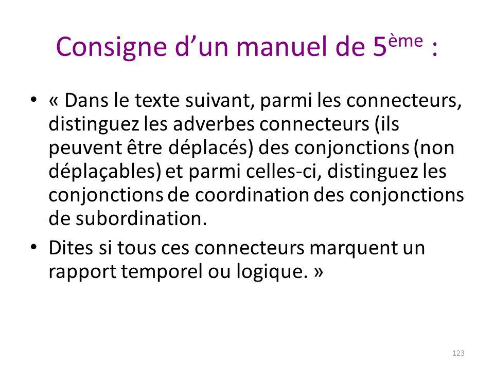 Consigne d'un manuel de 5 ème : 123 « Dans le texte suivant, parmi les connecteurs, distinguez les adverbes connecteurs (ils peuvent être déplacés) de