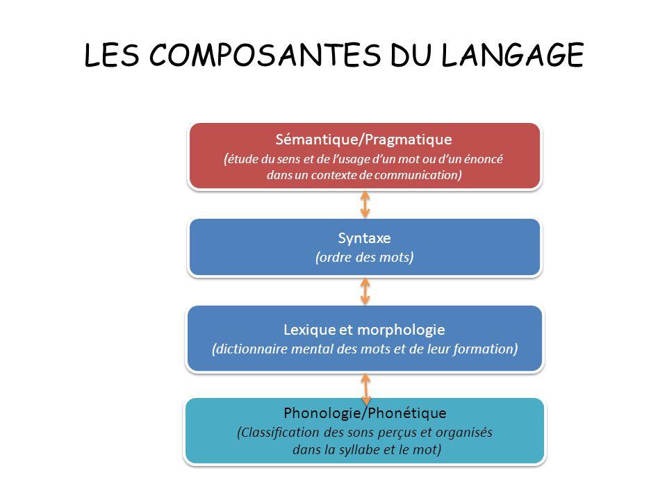 LES COMPOSANTES DU LANGAGE Sémantique/Pragmatique ( étude du sens et de l'usage d'un mot ou d'un énoncé dans un contexte de communication) Sémantique/