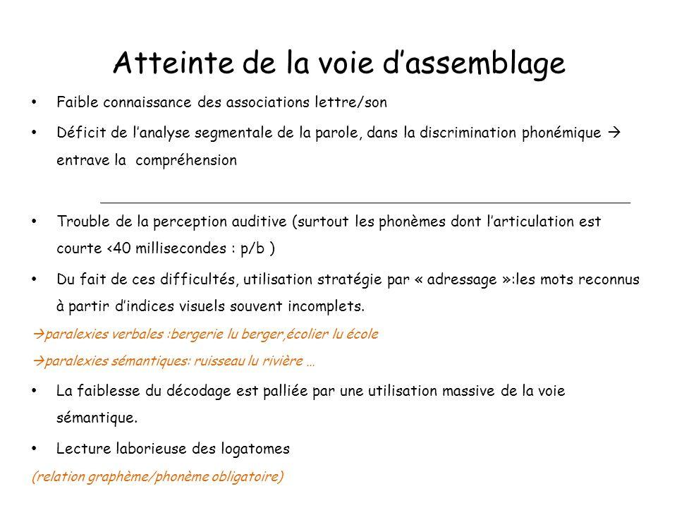 Atteinte de la voie d'assemblage Faible connaissance des associations lettre/son Déficit de l'analyse segmentale de la parole, dans la discrimination