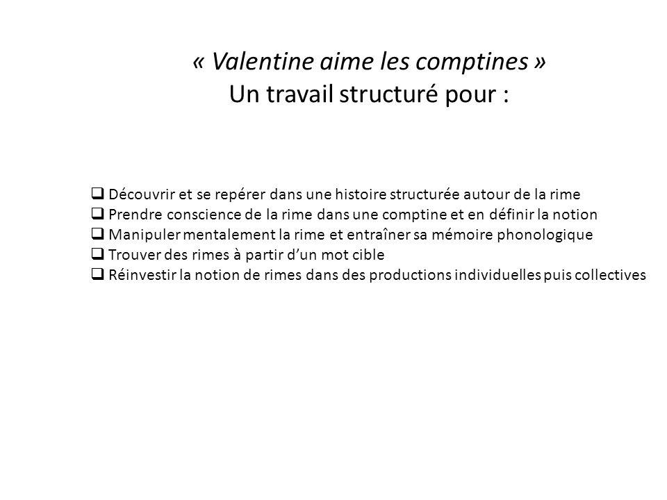 « Valentine aime les comptines » Un travail structuré pour :  Découvrir et se repérer dans une histoire structurée autour de la rime  Prendre consci