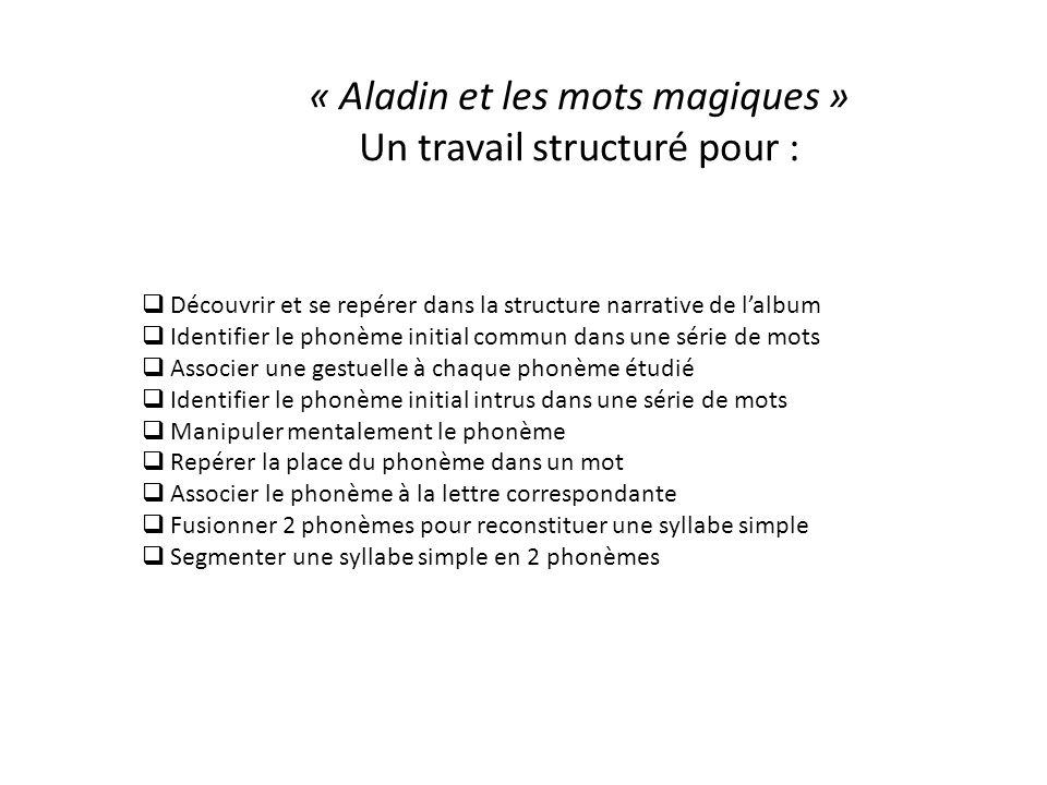 « Aladin et les mots magiques » Un travail structuré pour :  Découvrir et se repérer dans la structure narrative de l'album  Identifier le phonème i