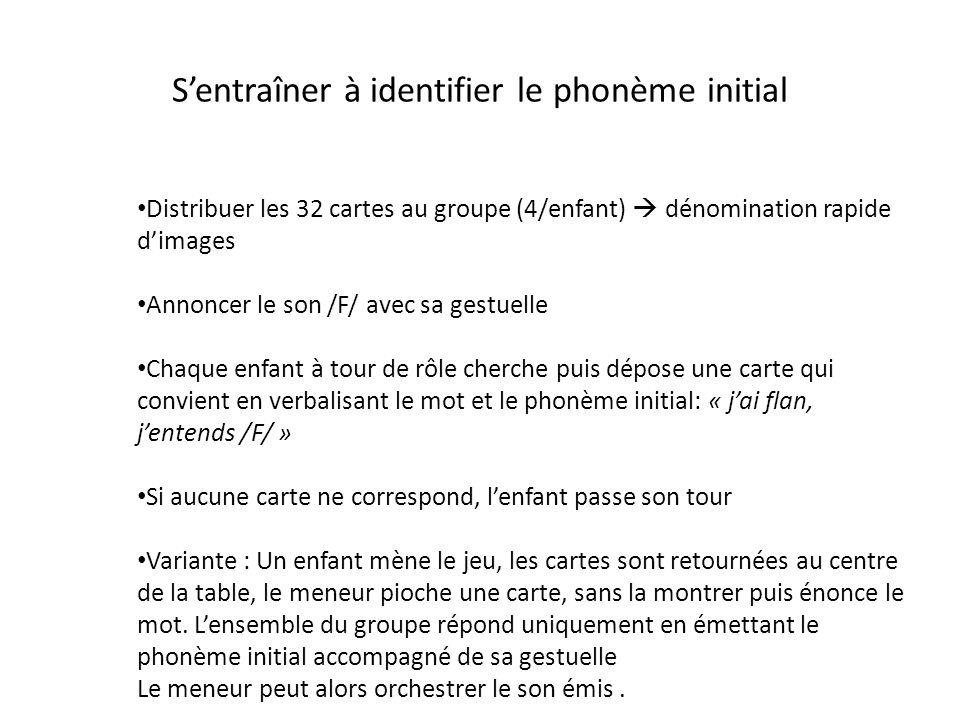 S'entraîner à identifier le phonème initial Distribuer les 32 cartes au groupe (4/enfant)  dénomination rapide d'images Annoncer le son /F/ avec sa g