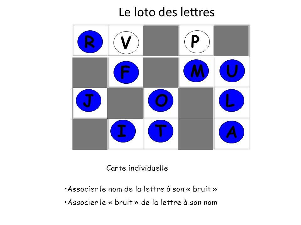 Le loto des lettres J Carte individuelle Associer le nom de la lettre à son « bruit » Associer le « bruit » de la lettre à son nom V P UM A O I R L T