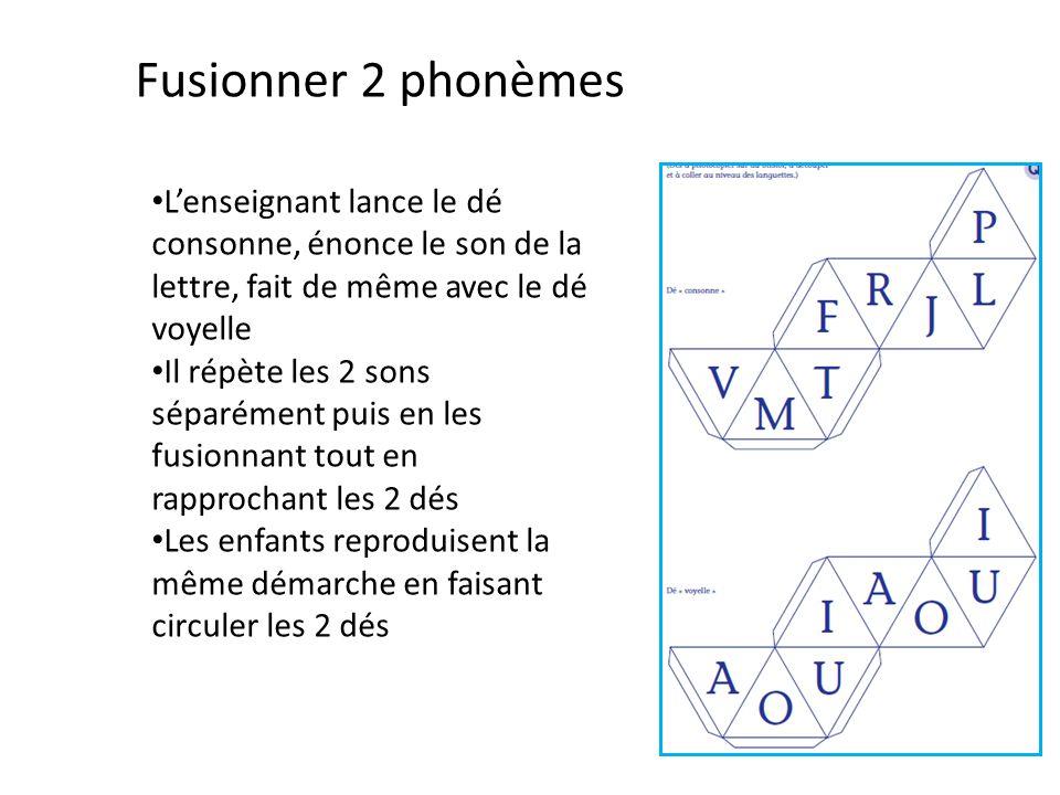 Fusionner 2 phonèmes L'enseignant lance le dé consonne, énonce le son de la lettre, fait de même avec le dé voyelle Il répète les 2 sons séparément pu