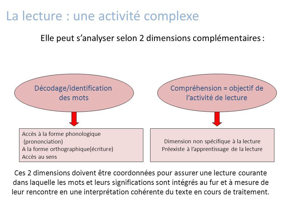 Elle peut s'analyser selon 2 dimensions complémentaires : La lecture : une activité complexe Décodage/identification des mots Compréhension = objectif
