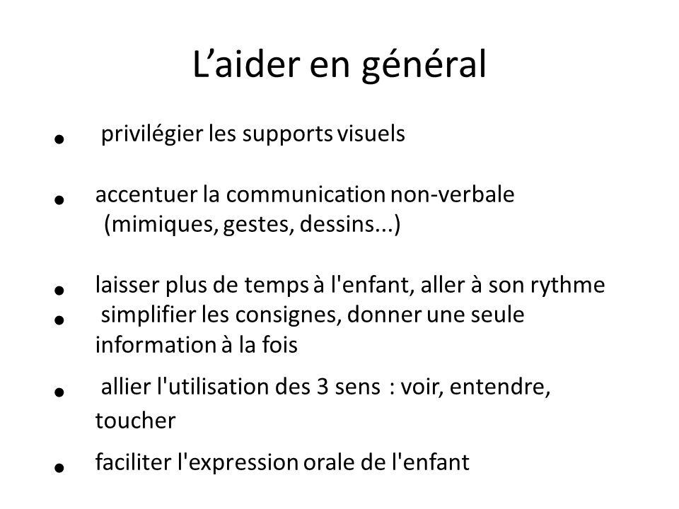 L'aider en général privilégier les supports visuels accentuer la communication non-verbale (mimiques, gestes, dessins...) laisser plus de temps à l'en