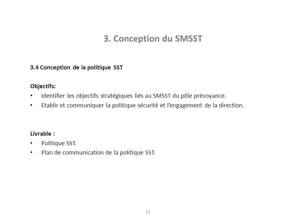11 3. Conception du SMSST 3.4 Conception de la politique SST Objectifs: Identifier les objectifs stratégiques liés au SMSST du pôle prévoyance. Etabli