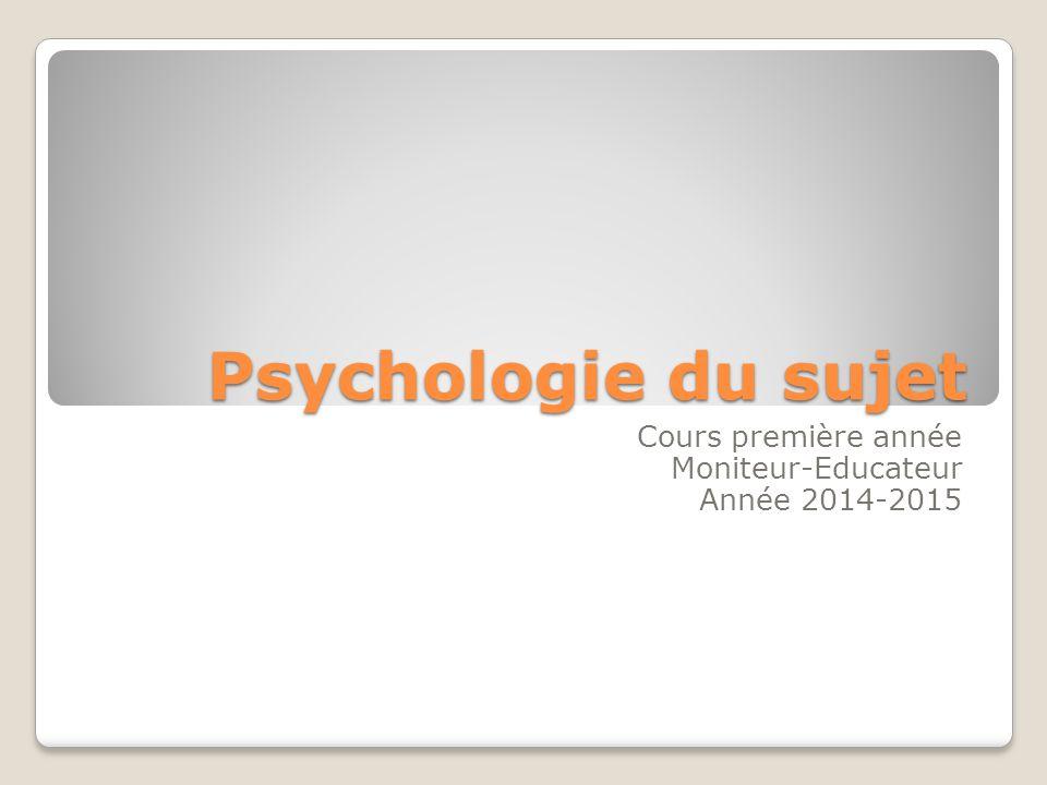 Psychologie du sujet Cours première année Moniteur-Educateur Année 2014-2015