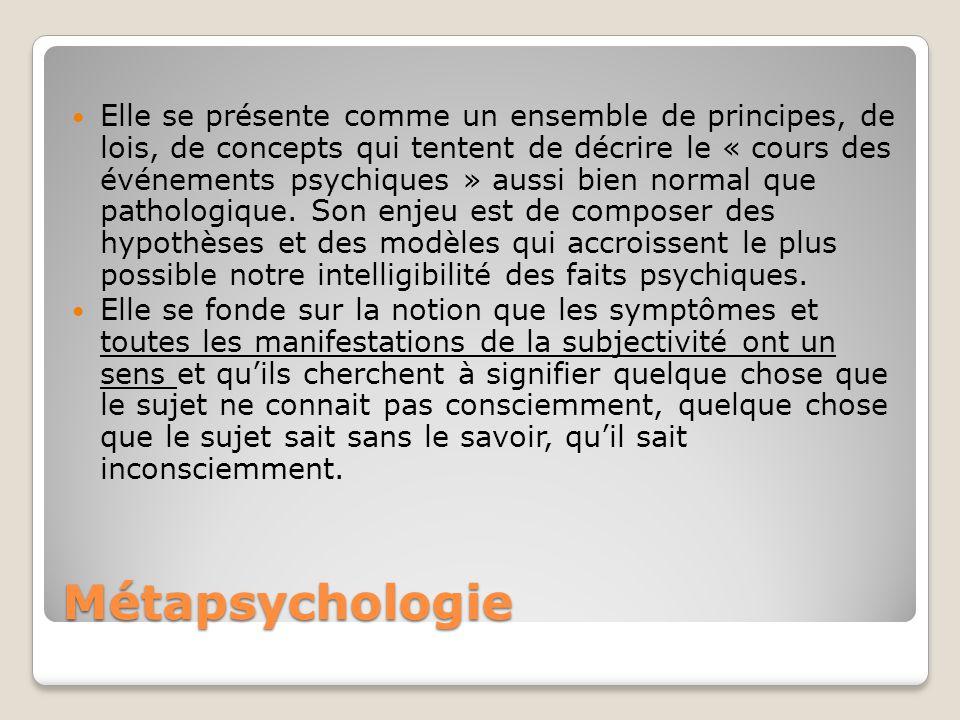 Métapsychologie Elle se présente comme un ensemble de principes, de lois, de concepts qui tentent de décrire le « cours des événements psychiques » aussi bien normal que pathologique.