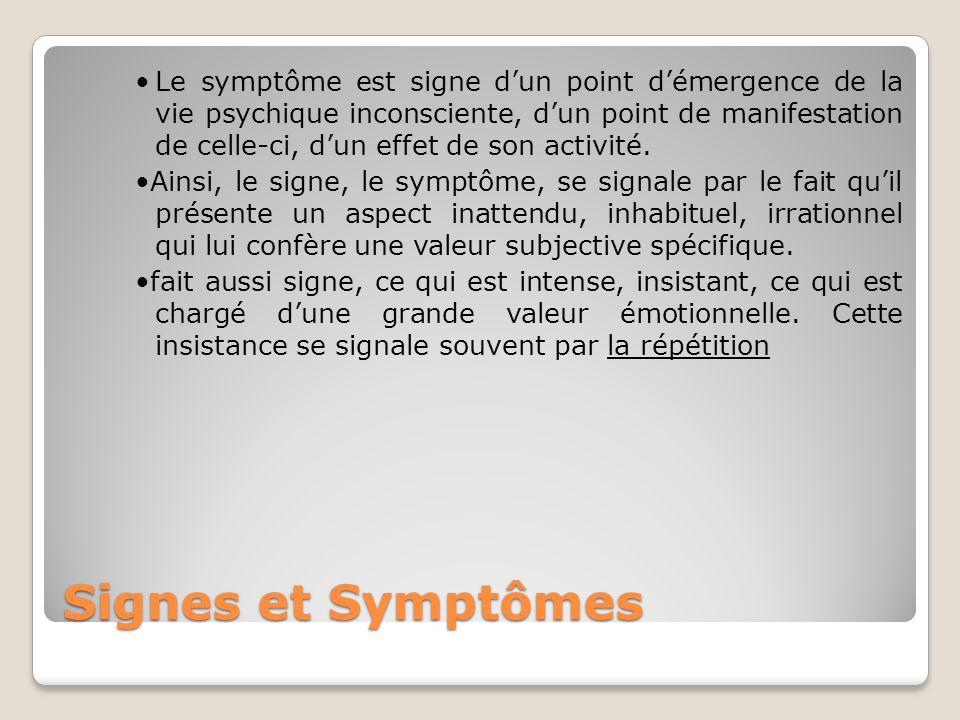 Signes et Symptômes Le symptôme est signe d'un point d'émergence de la vie psychique inconsciente, d'un point de manifestation de celle-ci, d'un effet
