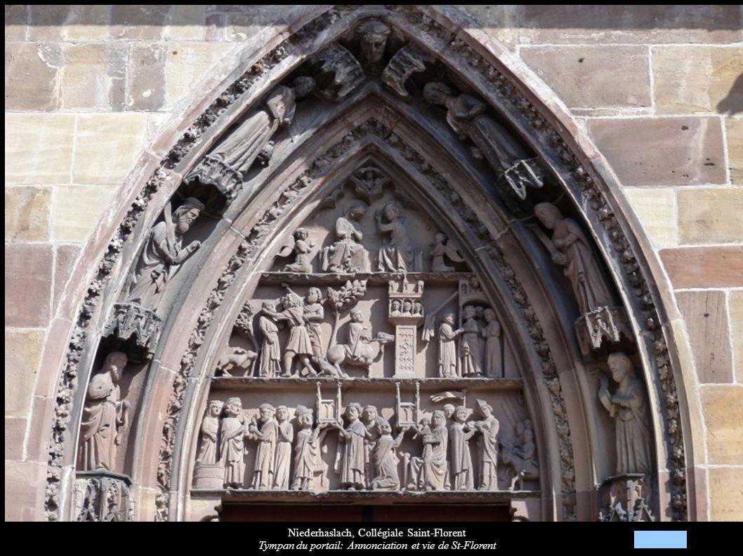 Niederhaslach, Collégiale Saint-Florent Tympan du portail: Annonciation et vie de St-Florent