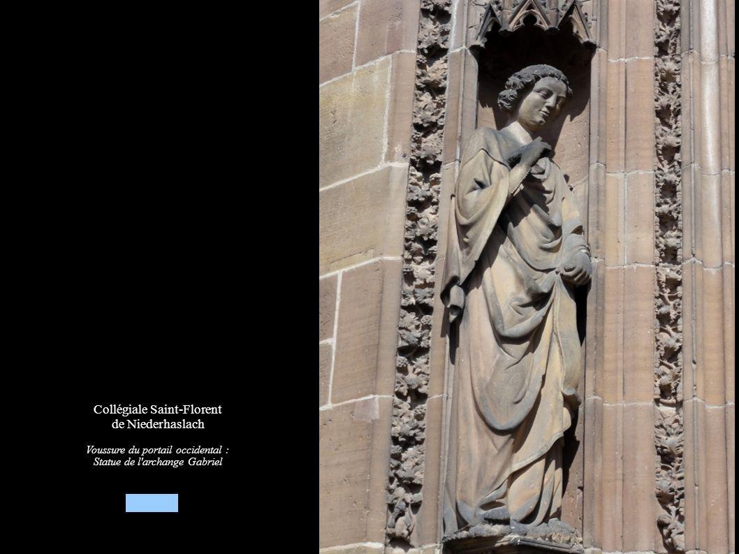 Collégiale Saint-Florent de Niederhaslach Voussure du portail occidental : Statue de l'archange Gabriel